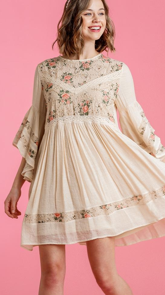 Cream Floral and Lace Tunic Dress