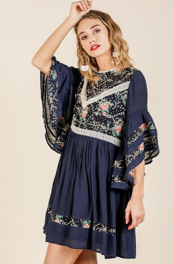 Navy Floral and Lace Tunic Dress