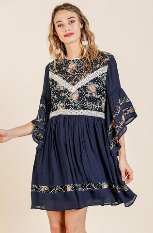 Navy Floral and Lace Tunic Dress in Sunkist