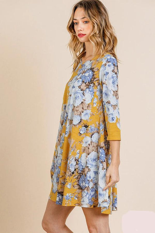 Tunic Dress in Mustard & Blue Rose Floral