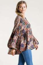 Medallion Print Tunic Top