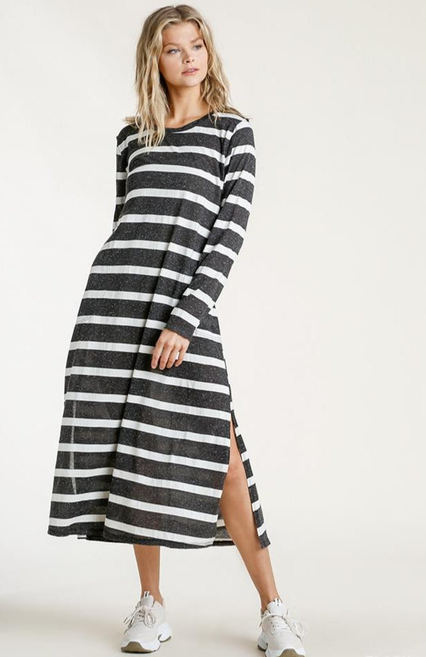 Charcoal and White Striped Jersey Maxi Dress