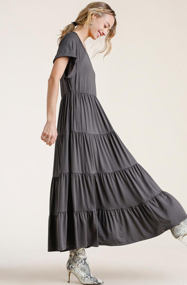 Ash Gray Tiered Jersey Maxi Dress