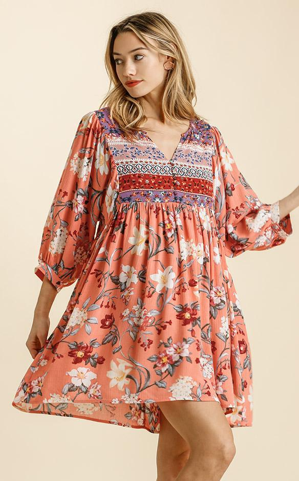 Canteloupe Floral Print V-Neck Peasant Dress