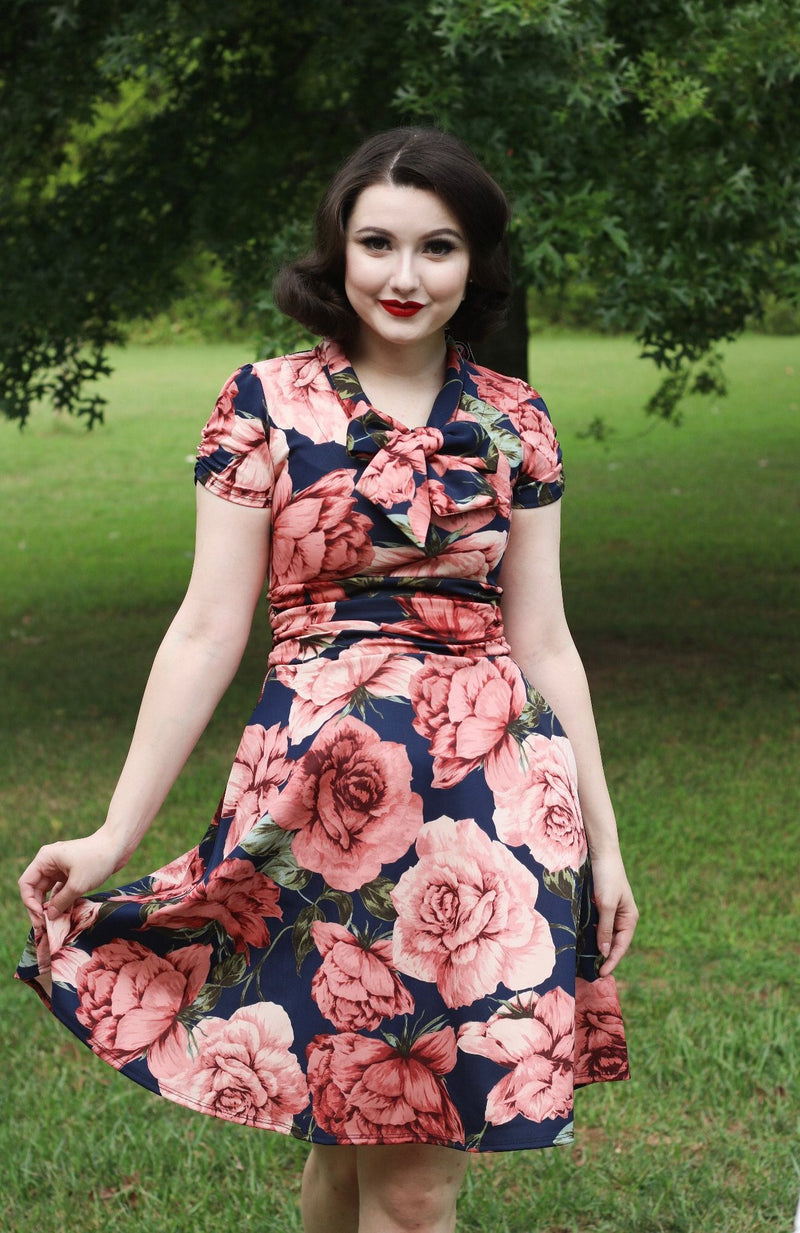 Mauve and Navy Floral Scuba Swing Dress by Retrolicious