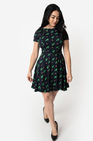 Cactus Short Sleeve Fit & Flare Dress in Navy by Unique Vintage