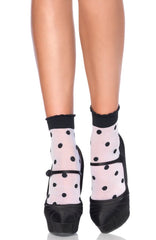Spot and Dot Anklet Socks by Leg Avenue
