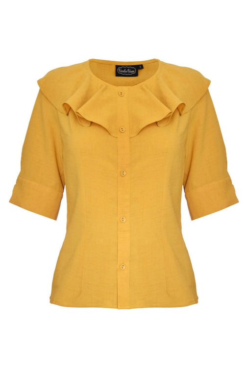 Yan Neck Frill Top in Mustard by Voodoo Vixen