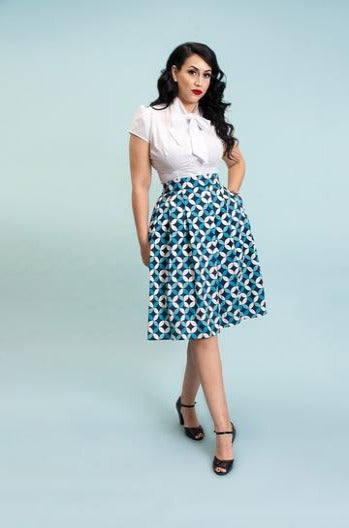 Cindy Skirt in Navy Petals by Heart of Haute