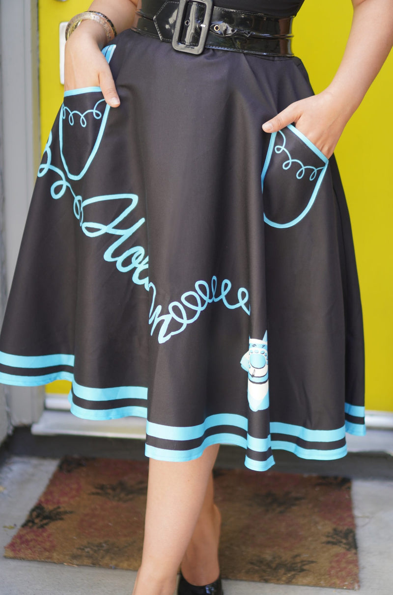 Hold-on Skirt in Black and Turquoise