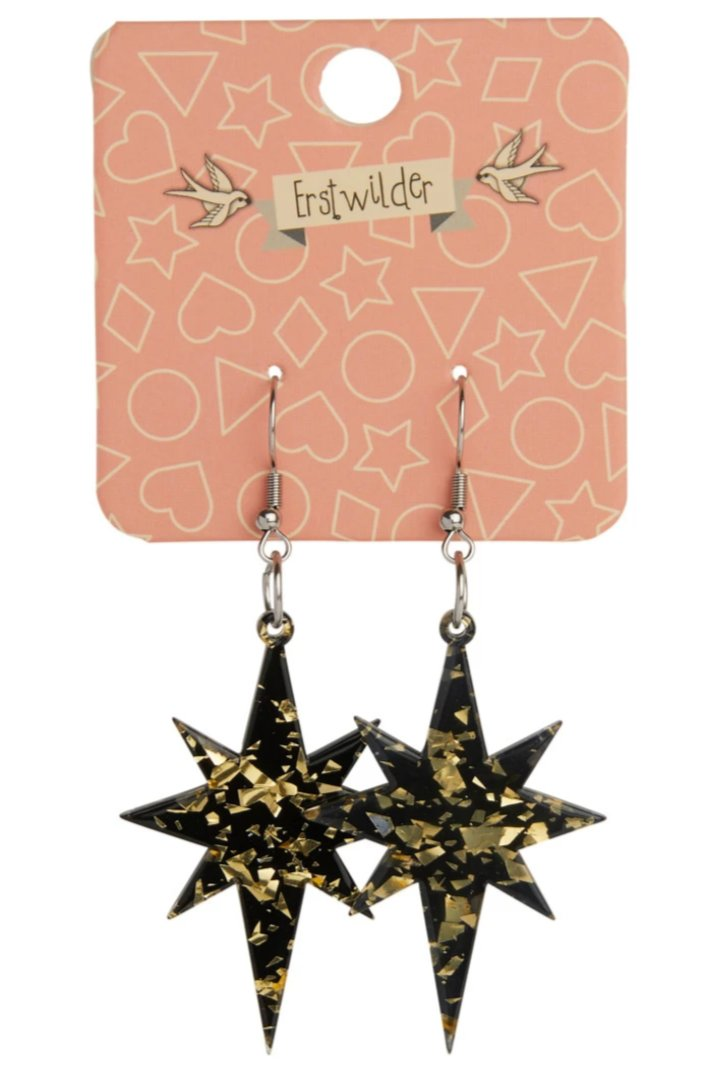 Halo Gold Starburst Glitter Resin Earrings by Erstwilder