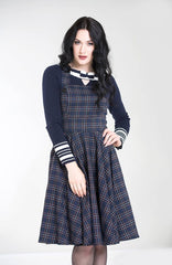 Peebles Pinafore Dress in Navy Plaid by Hell Bunny