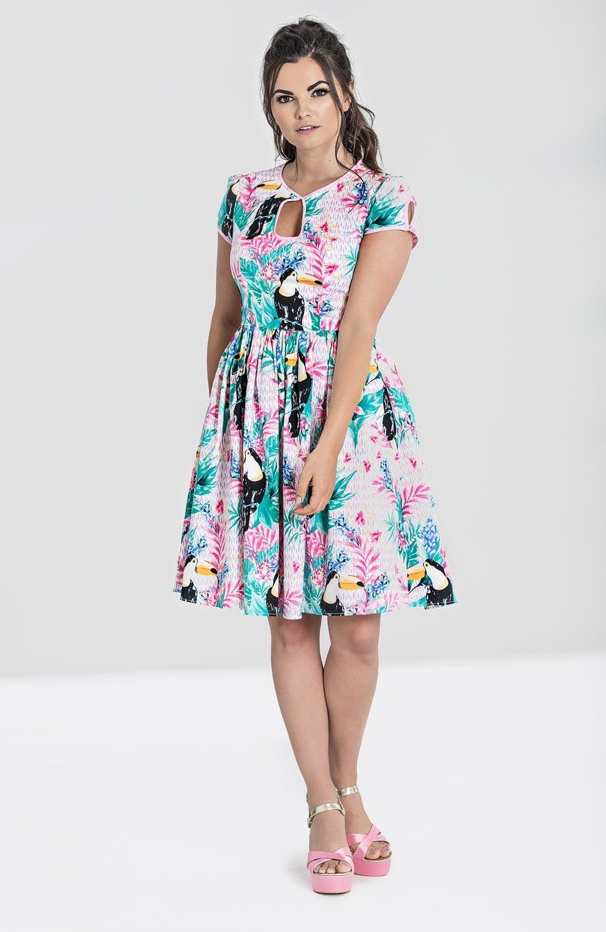 Toucan Dress in Pink by Hell Bunny