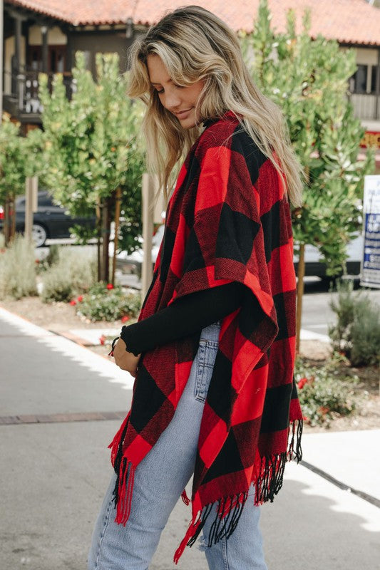 Red and Black Buffalo Check Poncho