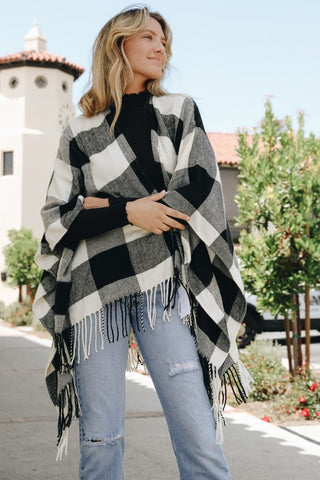 Buffalo Check Poncho in Black and White