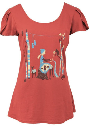 Knitting Girl Tulip Sleeve T-Shirt Top in Red by Blue Platypus
