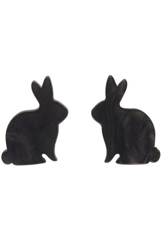 Bunny Textured Resin Earrings in Black by Erstwilder