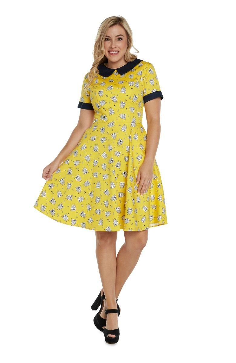 Shortsleeve Dress in Yellow & Navy Owl Print by Eva Rose