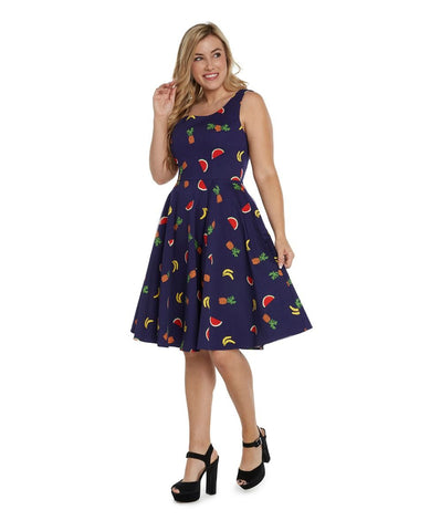 Scoop Neck Fruit Print Dress in Navy by Eva Rose