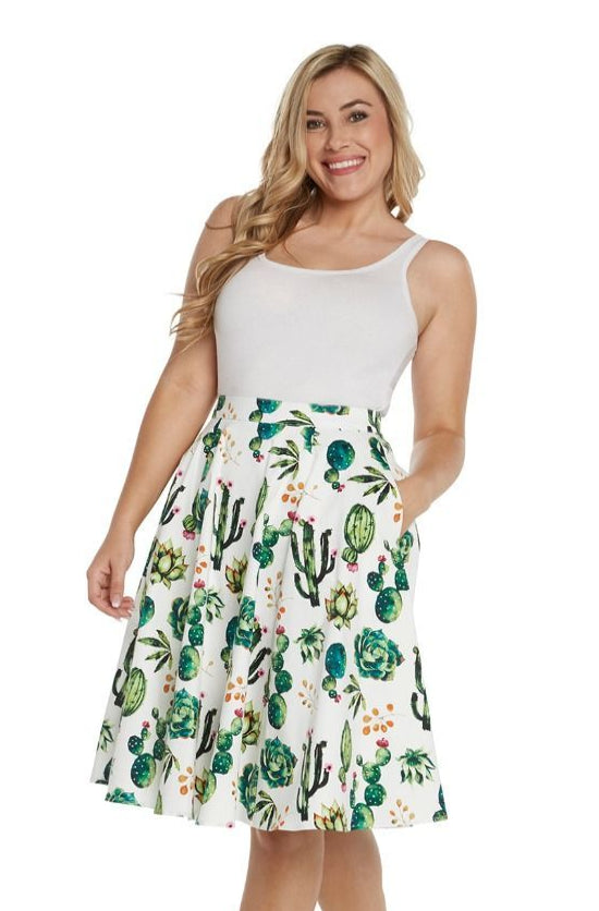 Cactus and Succulent Full Skirt by Eva Rose