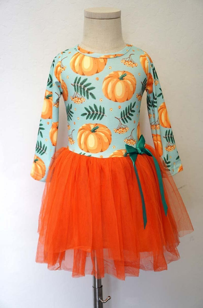 Mint Pumpkin Tulle Kids Dress