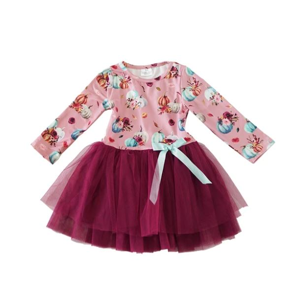 Pink Pumpkin Tulle Kids Dress