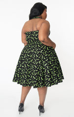 Black & Green Bats Rita Dress by Unique Vintage