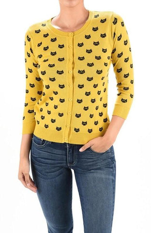 Cat Face Button Down Cardigan in Honey   Black by MAK ... 14a86abc7