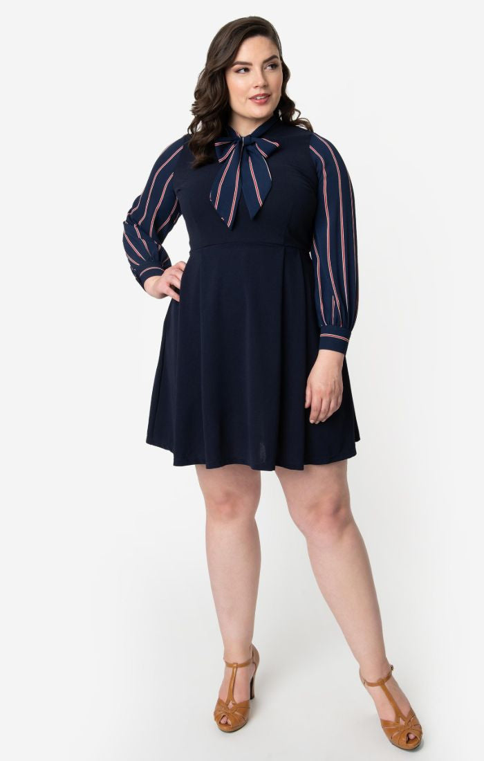 Long Sleeve Tie-Neck Dress in Navy & Red Stripe by Smak Parlour