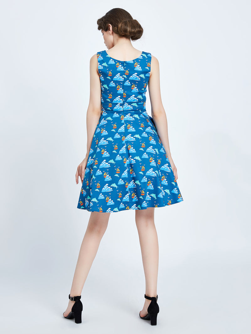 Kerry Dolphin and Boat Dress by Miss Lulo