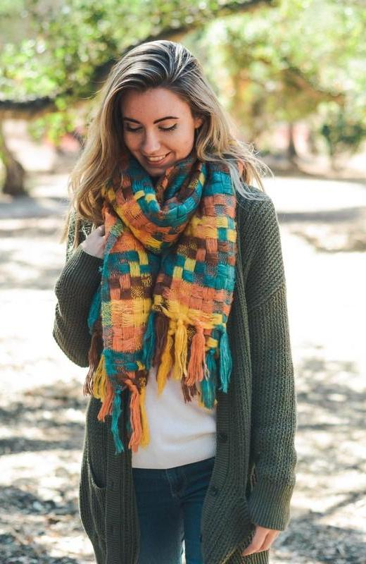 Orange and Teal Patchwork Woven Tassel Scarf