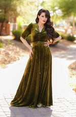 Charleston Velvet Jumpsuit in Olive by Rockin Bettie