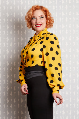 Kinga-Sun Tie-Neck Blouse in Yellow Polka Dot by Miss Candyfloss
