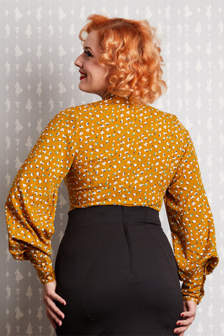Althea Tie-Neck Blouse in Mustard Floral by Miss Candyfloss