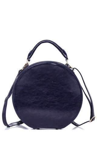 Hat Box Handbag in Navy