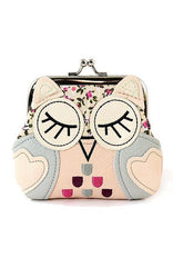 Sleeping Owl Coin Purse in Pink