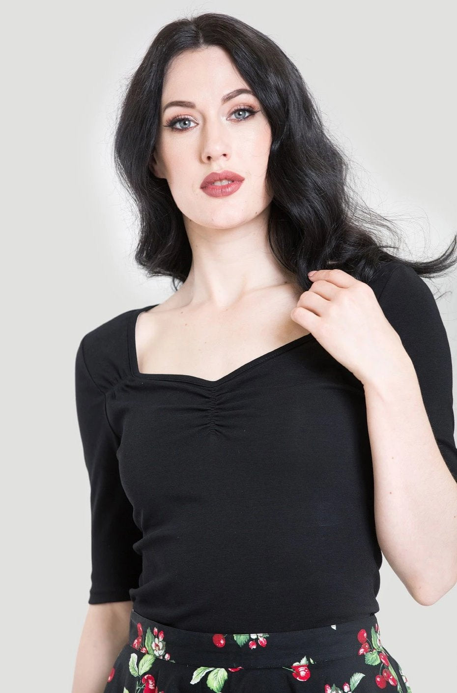 Black Philippa Jersey Top by Hell Bunny