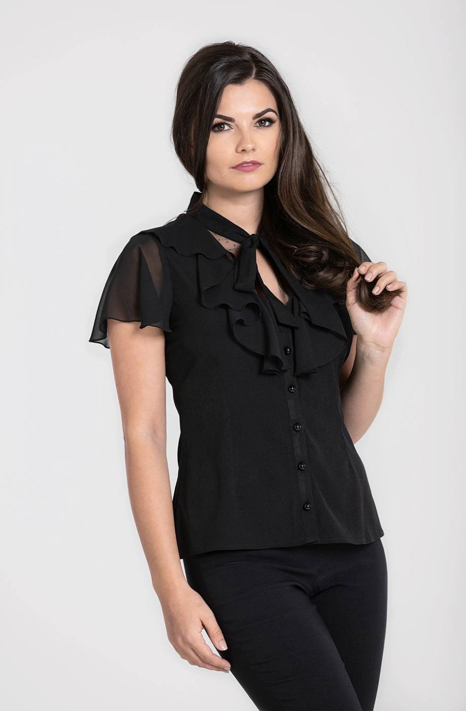 Evanora Black Mesh and Ruffle Blouse by Hell Bunny