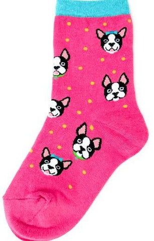 Kid's Pink Boston Terrier Socks by Foot Traffic