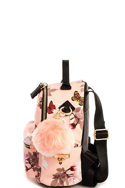 Cute Mini Floral Butterfly Print Backpack with Pom Pom in Blush