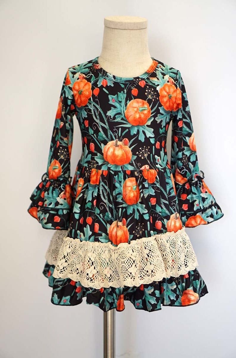 Kids Pumpkin Lace Ruffle Dress