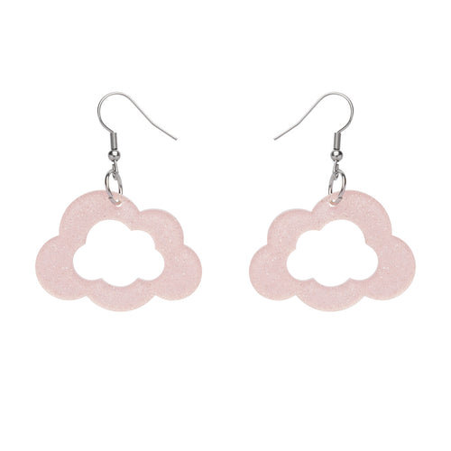 Care Bears Cloud Glitter Earrings in Pink by Erstwilder