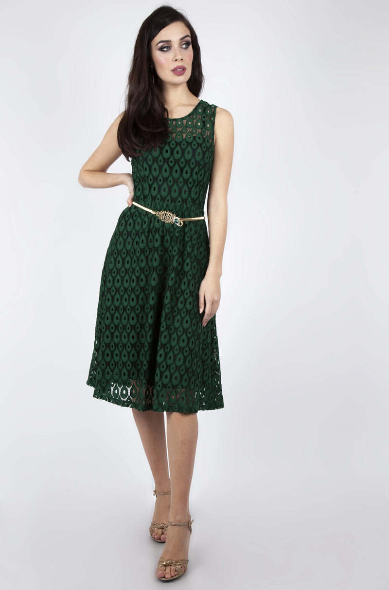 Lace Overlay Flare Dress in Green by Voodoo Vixen
