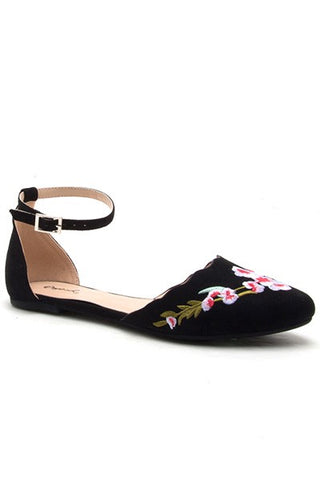 Black Floral Embroidered Pika Flats