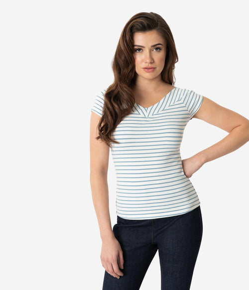 Deena Top in Blue and White Stripe