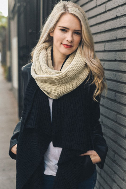 Shaker Knit Infinity Scarf in Ivory