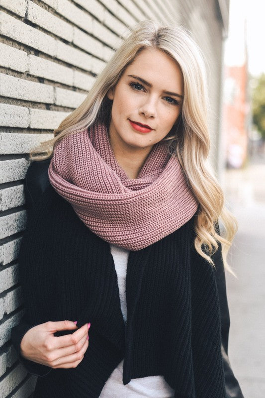 Mauve Ribbed Knit Infinity Scarf