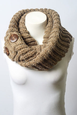 Heathered Knit Button Infinity Scarf in Mocha