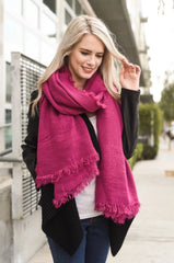 Magenta Blanket Scarf with Frayed Border