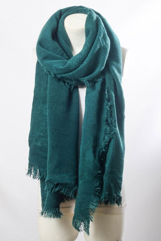 Forest Green Blanket Scarf with Frayed Border